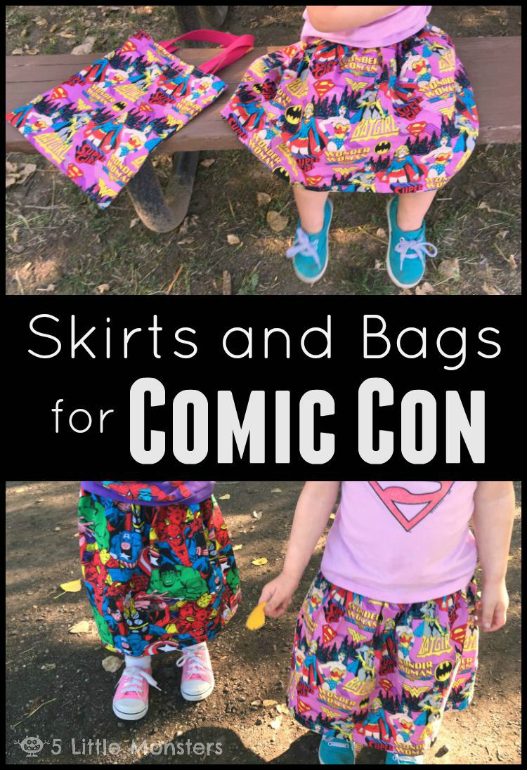 Simple Superhero skirts and bags for little girls, perfect for comic con or any day. link to tutorial so you can make your own.