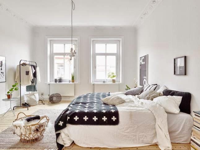 Dormitorio con decoración nórdica