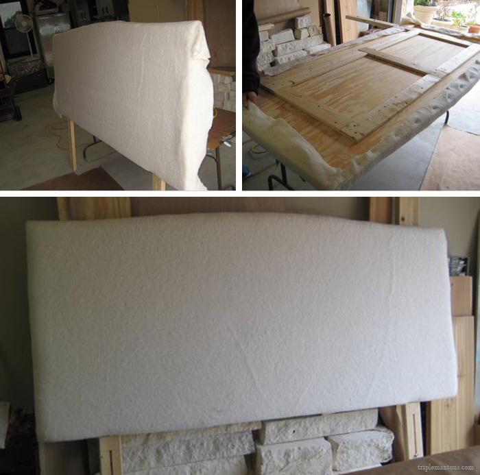Lay The Batting Over The Front Of The Headboard. Try And Get The Batting As  Smooth As Possible, And Carefully Flip The Headboard Over So The Back Is  Now ...