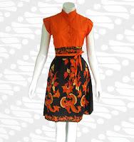 dress batik modern dm22 Model Baju Batik Pria Wanita Yang Lagi Musim