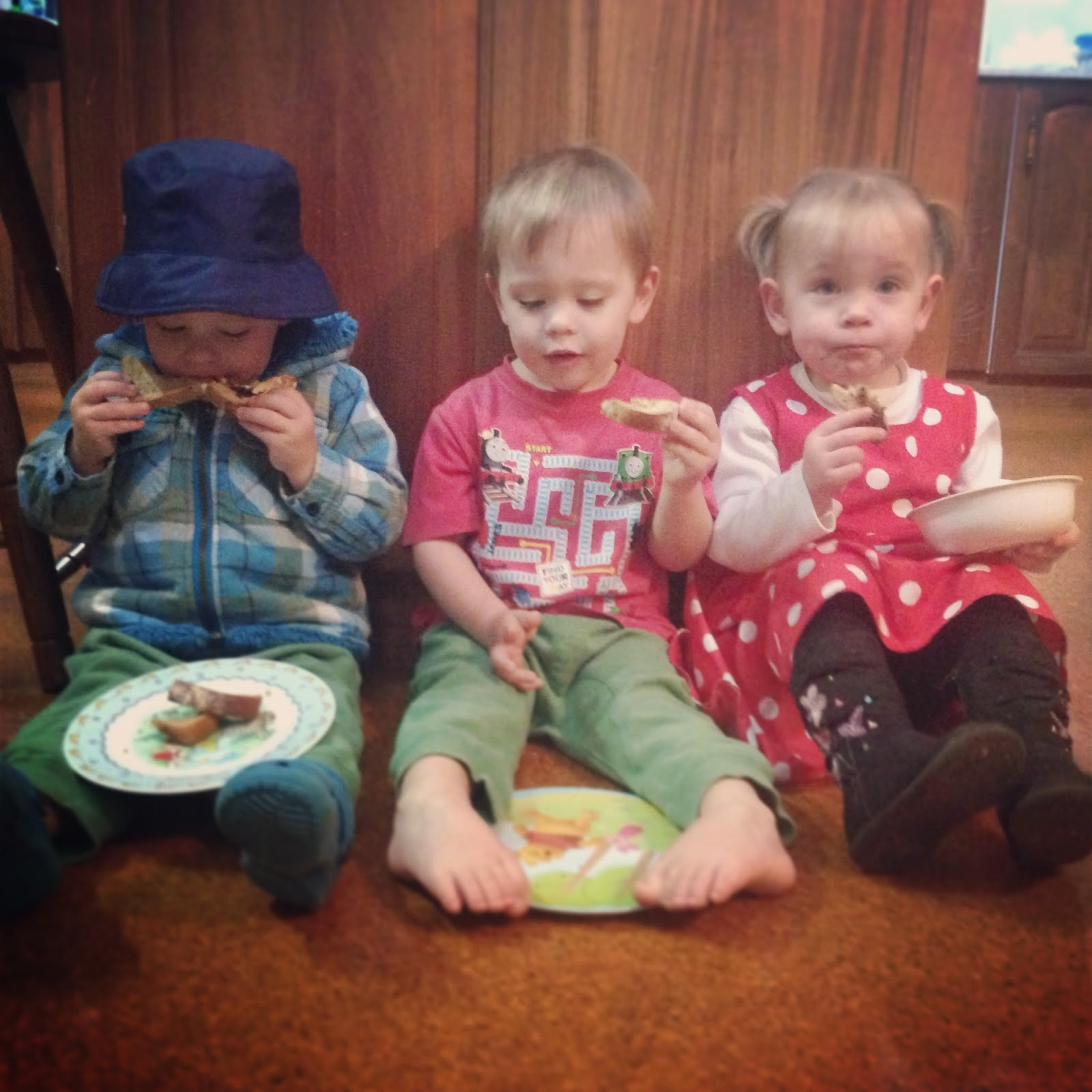 Two year old triplets routine at lunch