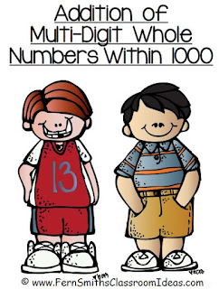 Fern Smith's Classroom Ideas Addition Multi-Digit Whole Numbers Within 1000 - Center Games and  Printables with No Common Core