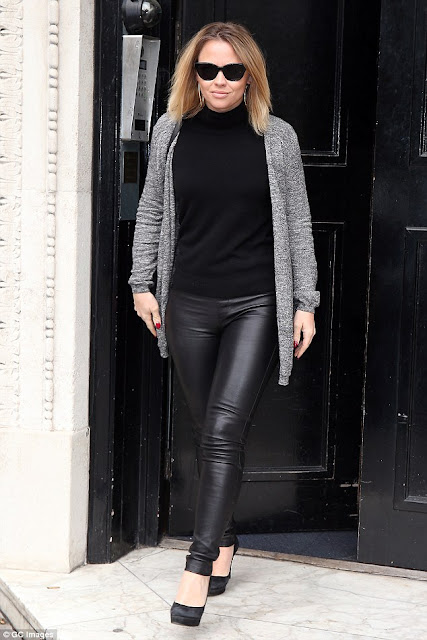 Elf The Musical, Girls Aloud Singer, Heat Radio Studio, Kimberley Walsh, all black outfit, celebrity street style