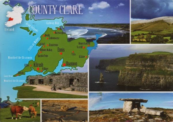 Map of County Clare, Ireland, with inserted views
