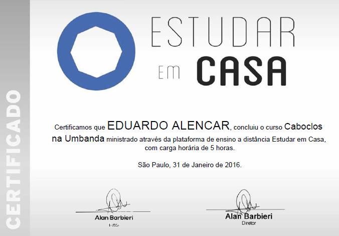 """Certificado: """"Caboclos na Umbanda"""""""