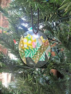 Simple washi tape Christmas ornaments for toddlers and preschool kids to make from And Next Comes L