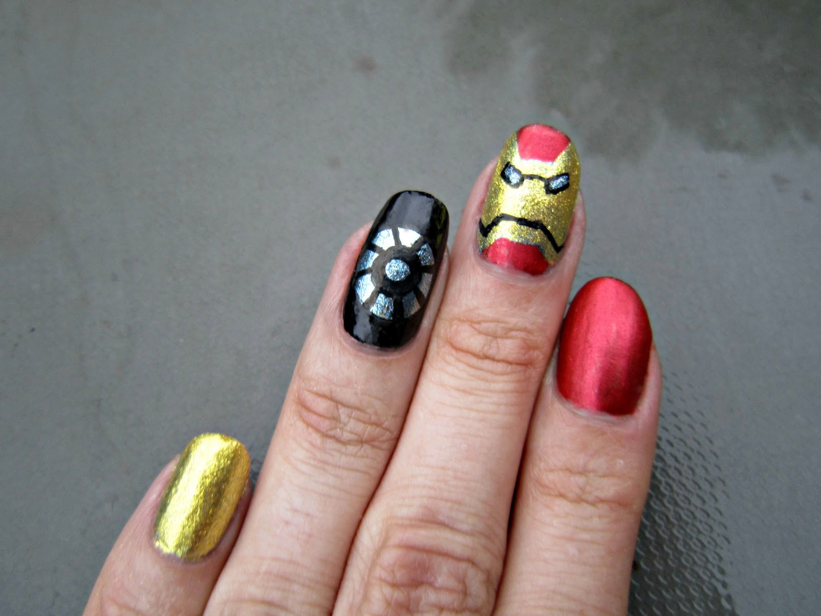 Concrete and Nail Polish: Iron Man Nails!