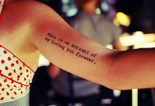 cool and cute arm quote tattoos bicep tattoo ideas for men and girls. Black Bedroom Furniture Sets. Home Design Ideas