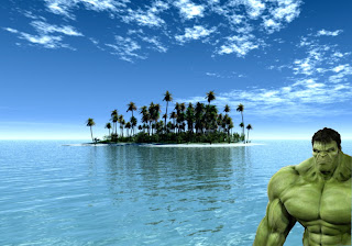 The Incredible Hulk Posters Wallpapers The Green Monster watching you work in Tropical Paradise island background