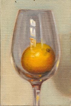 Oil painting of a large white wine glass with a lemon inside.
