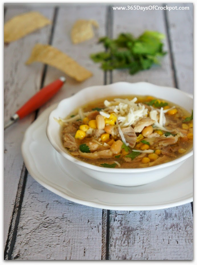 This chili is full of white beans and shredded chicken and it's made in the slow cooker for an extra easy dinner