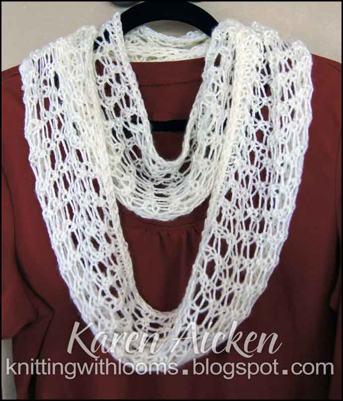 Loom Knit Infinity Scarf Pattern : Knitting With Looms: Finished Lacy Infinity Scarf