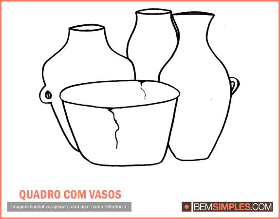 Natureza Morta Vasos De Ceramica Com O Desenho Para Pintar