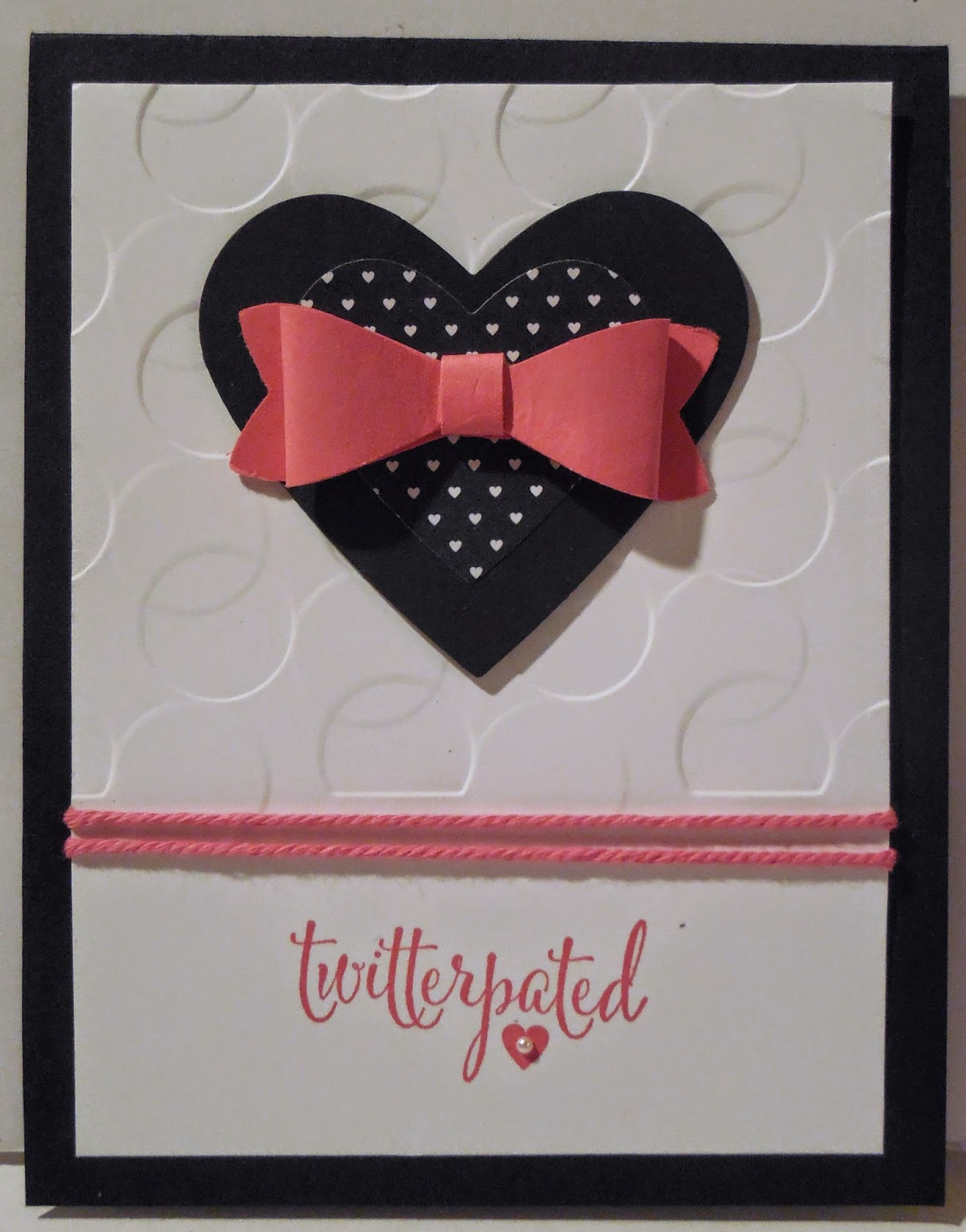 Card made with Stampin'UP!'s You Plus Me stamp set, Bow Builder Punch and Stacked with Love DSP
