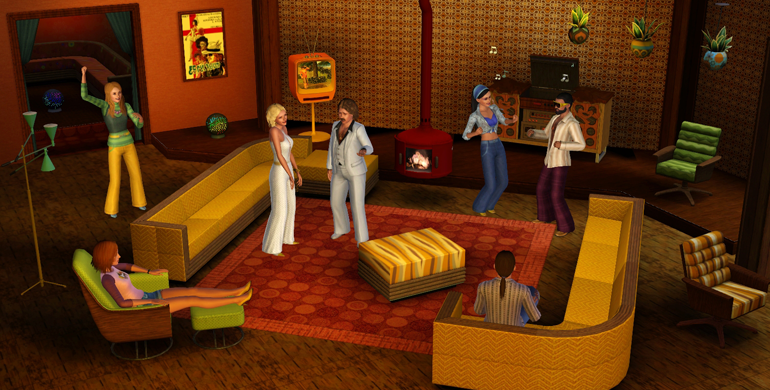 My sims 3 blog the sims 3 70s 80s 90s stuff now available for Living room design 70s