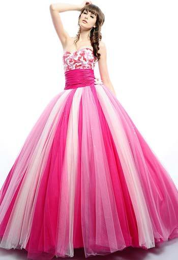 Hermoso Vestido Multicolor En Tonos Rosa Y Fucsia