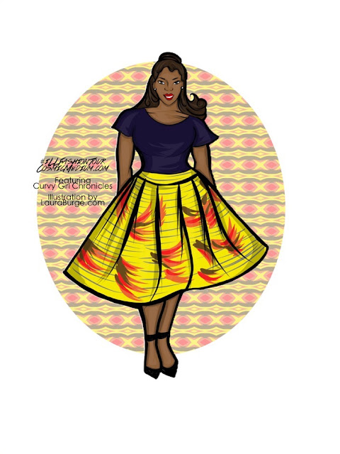 A graphic from the illustrated fashion tour of Laura from Cosmic Medium