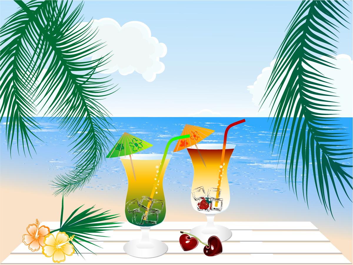 海辺のビーチのカクテル seaside beach cocktails イラスト素材