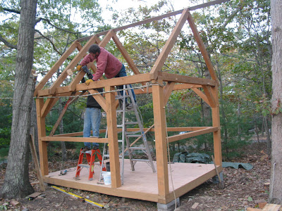 Donn timber frame structure plans 8x10x12x14x16x18x20x22x24 for Small timber frame cottage