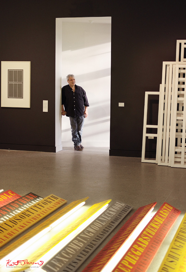 Artist portrait, Ruark Lewis with installation at Hazelhurst Gallery for the Ruark Lewis 'Survey' opening 2012