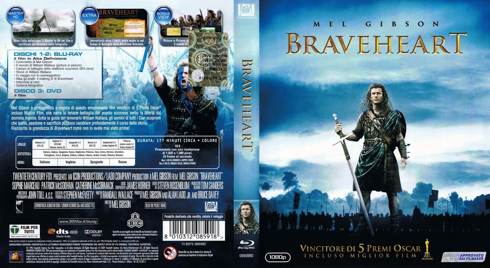 Braveheart Blu-ray Dvd Cover