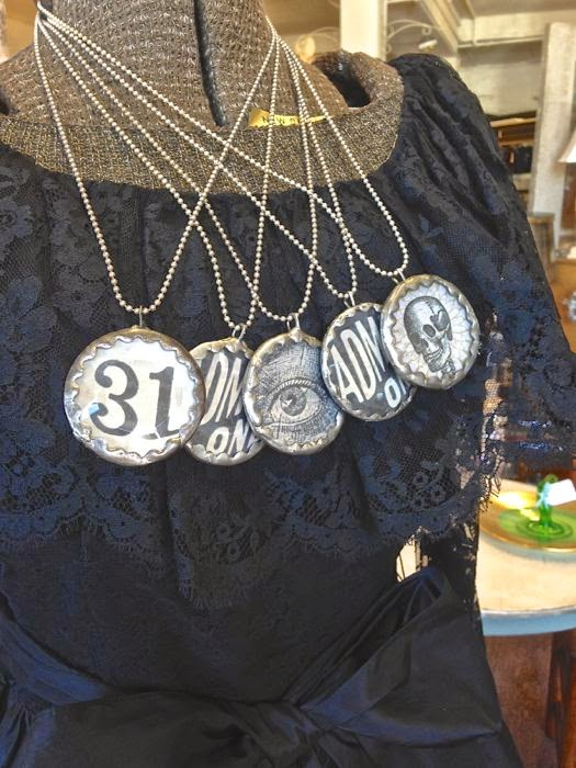 Halloween necklaces vintage Oscar de la Renta dress The Pickled Hutch