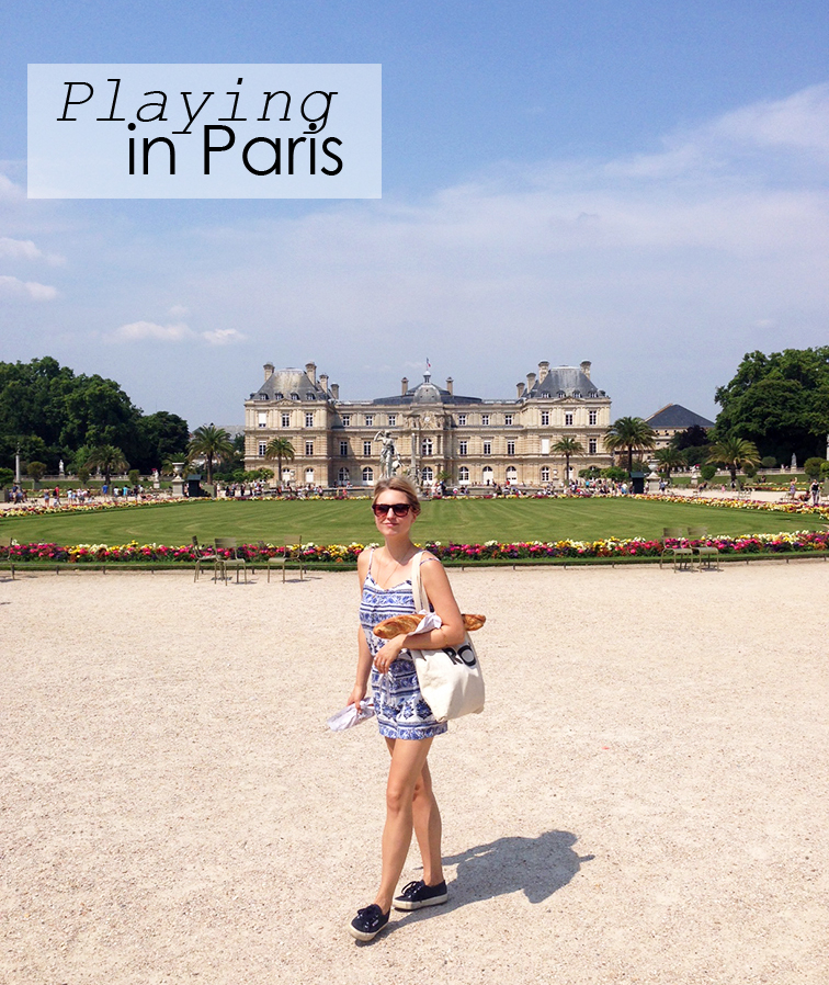 Playing in Paris, LOFT romper, French girl, Parisian style with a Baguette, Jardin du Luxembourg