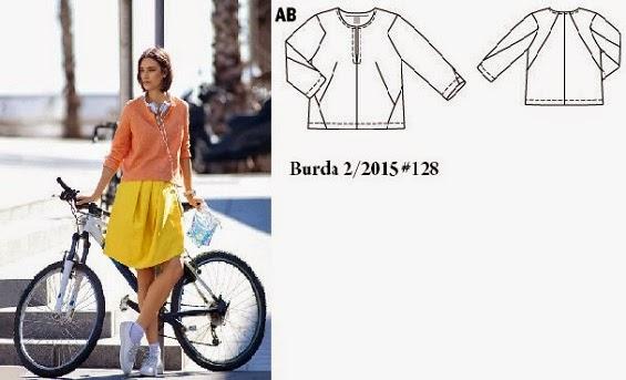 Burda 2/2015 #128 angular seamed top with slit neckline www.loweryourpresserfoot.blogspot.com