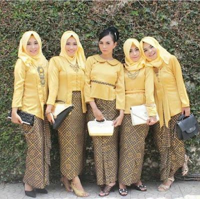 model kebaya bawahan batik blouse polos kuning