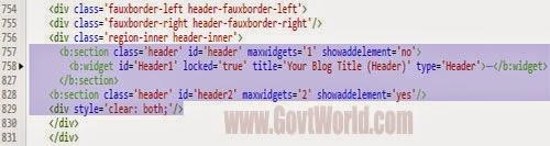 Split Blogger Header into two Column Step 3