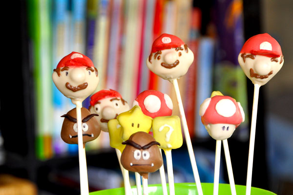 mario toad mushroom goomba cake pops