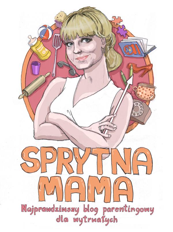 sprytna mama ilustracja logo na bloga urbaniak kobieta matka  portret
