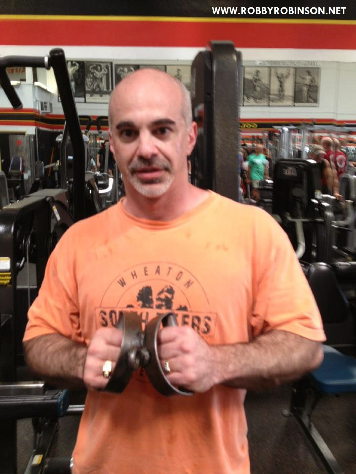 Gary Casaccio holding legendary T-row-Bar from the original Gold's gym on Pacific Ave, Venice BUILT- Instructional Double DVD ● www.robbyrobinson.net/dvd_built.php ●