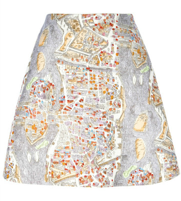 Carven Paris Map Skirt SS13
