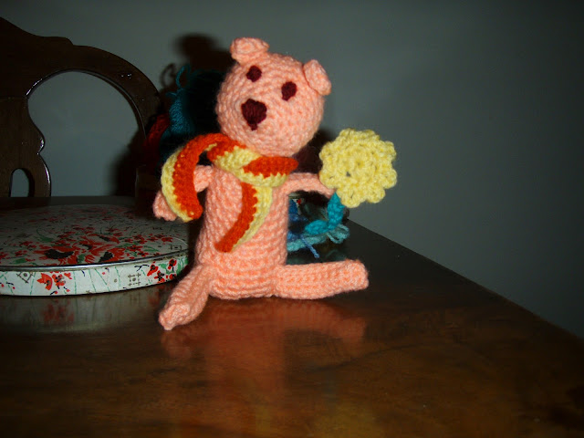 crochet teddy with scarf and flower little funny plush toy