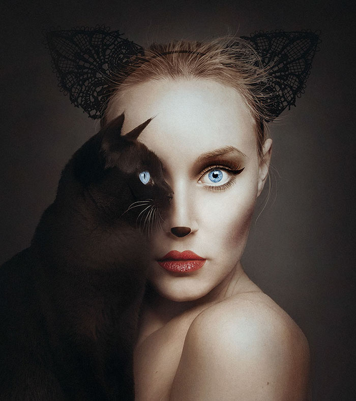 Autorretratos surrealistas reemplazan un ojo con los ojos de un animal