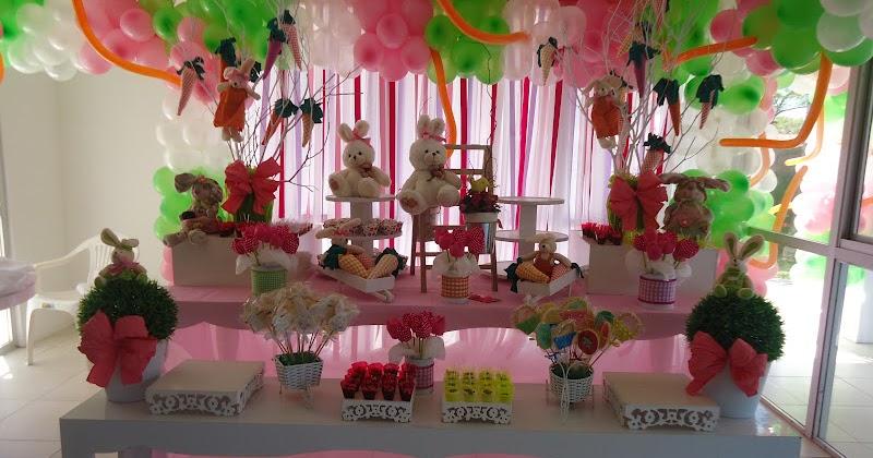 Festas e Cia  Arquitetura e Eventos Coelhinhas cor de rosa
