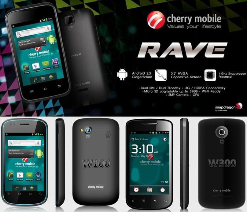 Latest Cherry Mobile RAVE compared to W100 and W300 budget Android
