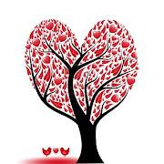 Sobre el amor (arbol de hermosa amor abstracto con corazones aves)