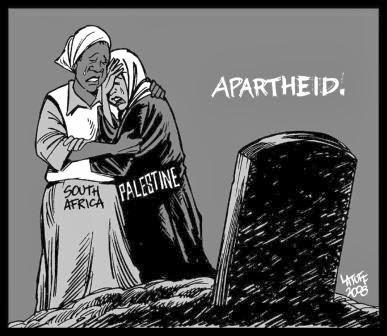 Mae palestina e mão sul africana chora a dor. Apartheid, por Latuff
