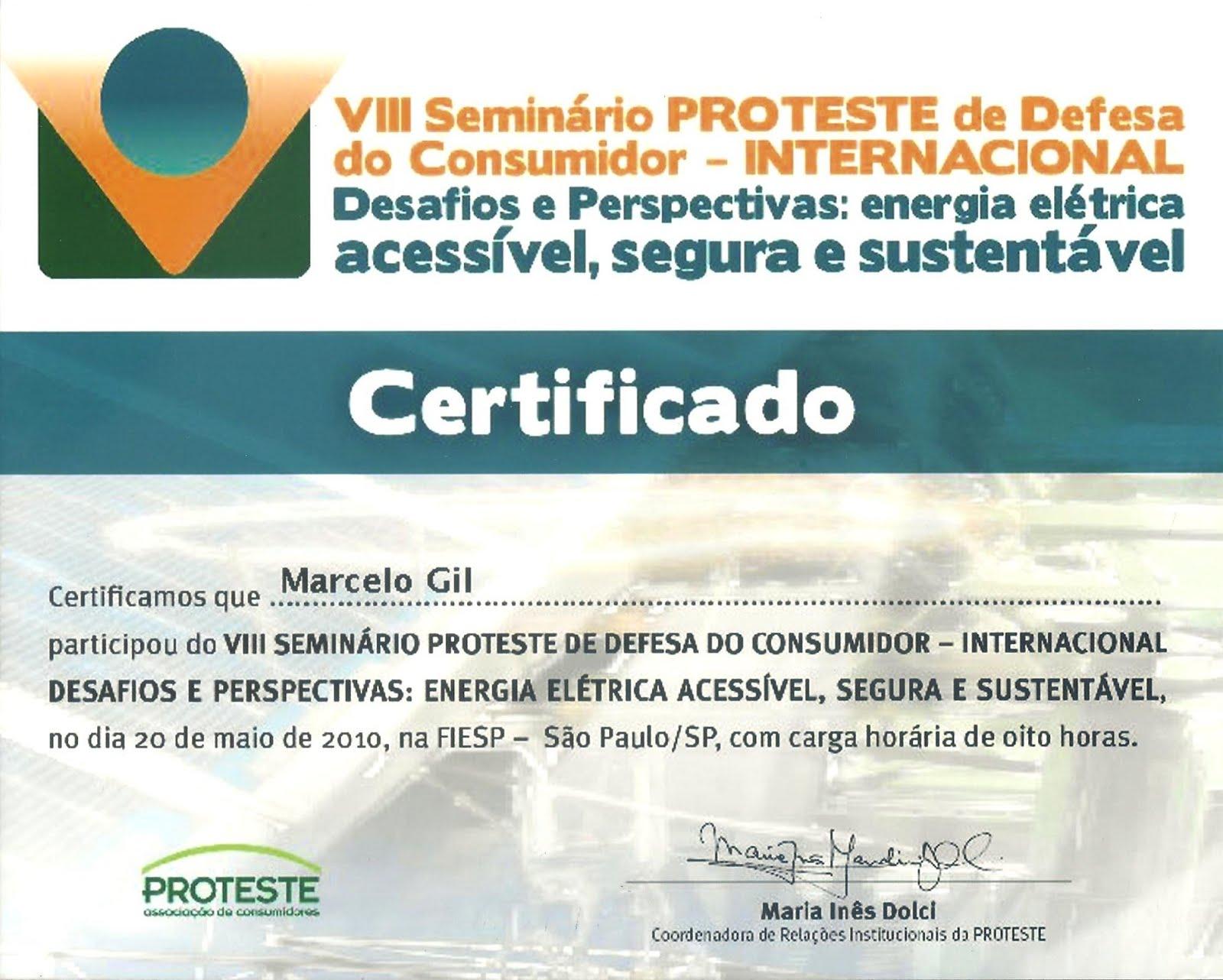 CERTIFICADO DE PARTICIPAÇÃO EM SEMINÁRIO DA ASSOCIAÇÃO BRASILEIRA DE DEFESA DO CONSUMIDOR / 2010