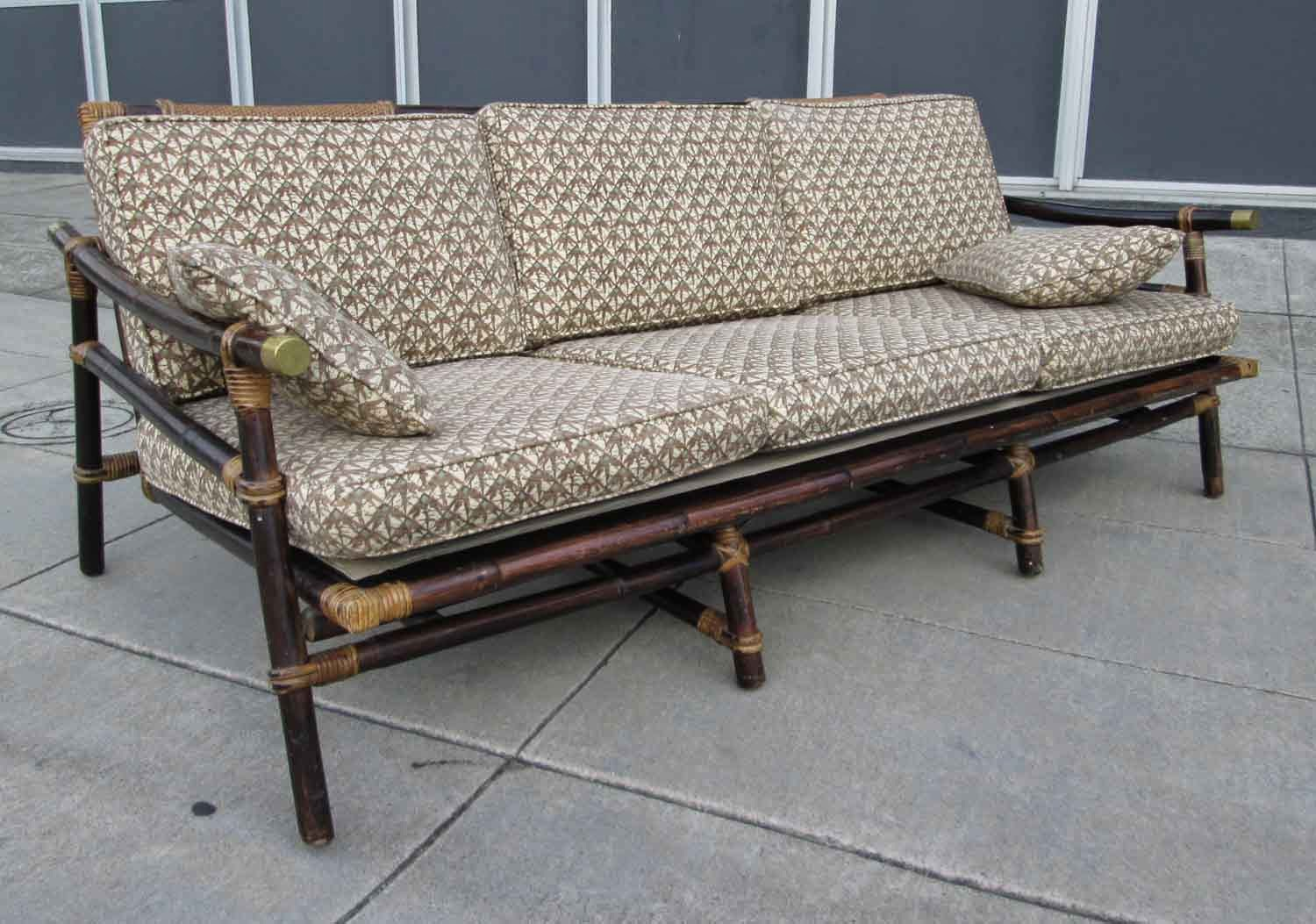 Sold Mid Century Rattan Sofa Ficks Reed Co 240