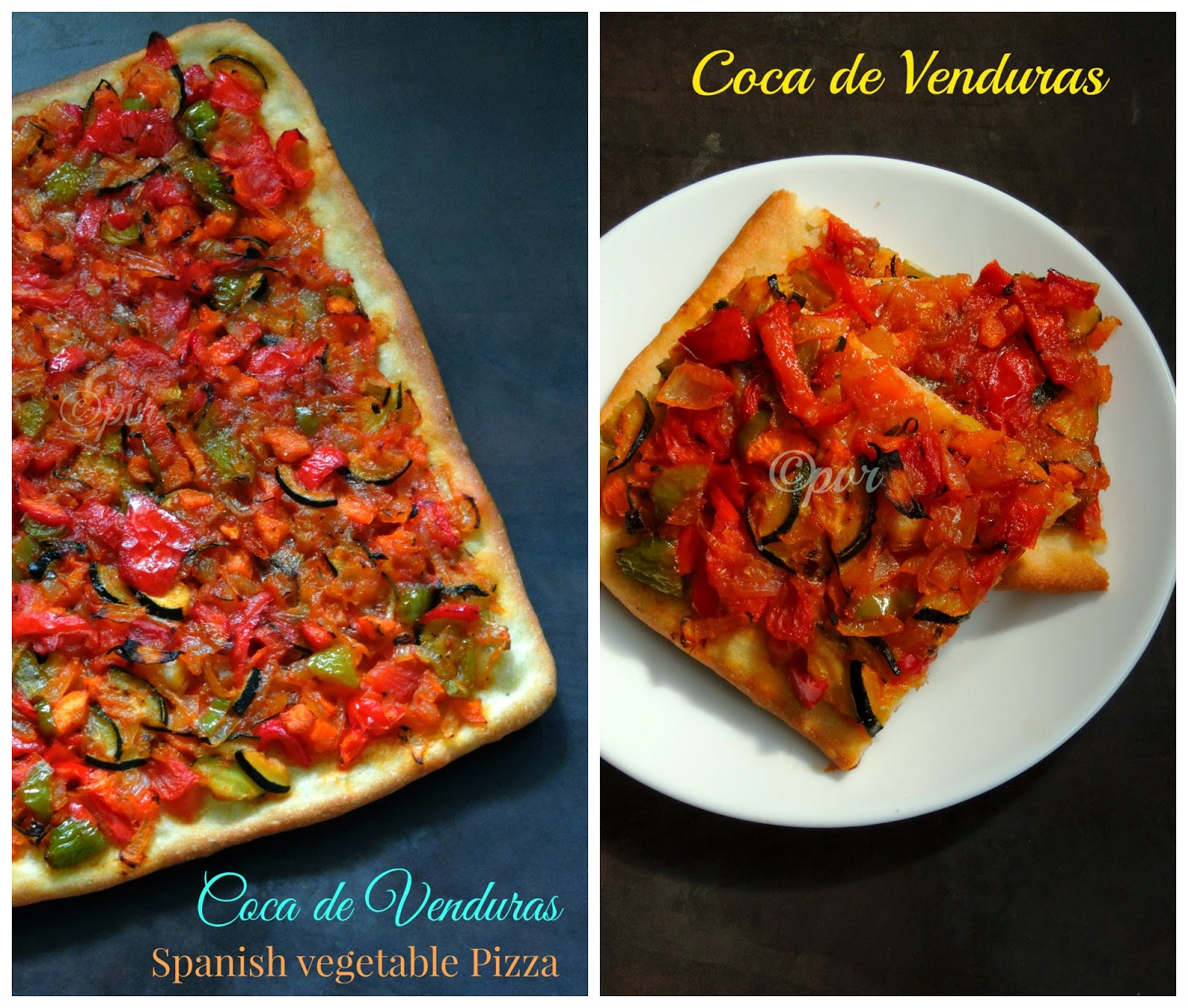 Coca de Venduras, vegan catalan vegetable pizza