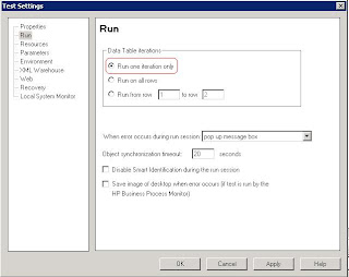QTP Test Settings Run Data table iterations