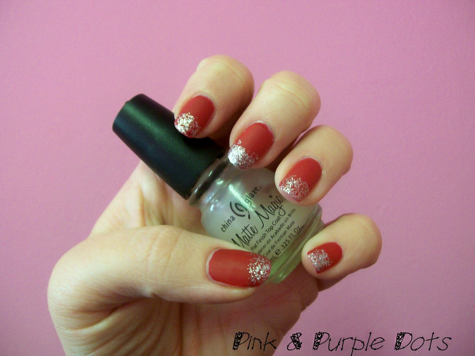 Pink & Purple Dots: Red with Silver Glitter Tips Matte