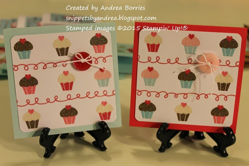 Two valentines featuring paper with a cupcake print and a button embellishment.