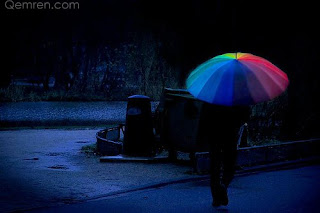 girl with rainbow umbrella in rain