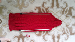 Örgü Kırmızı Kapşonlu Hırka
