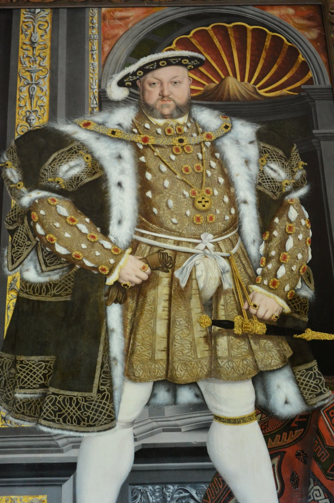 King Henery VIII, wide legs, portrait, rich, Tudor, royal, painting,  Petworth House and Garden, inside, interior, visit, review, National Trust, history, UK, England, Sussex, historical property, old building, culture, day trip, photo, photograph