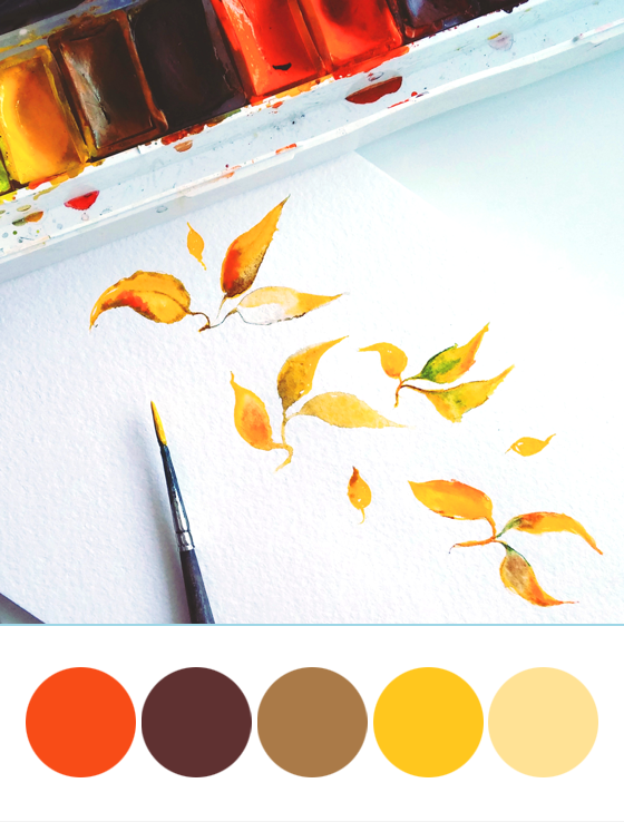 leaves, orange, autumn, watercolor, brush, yellow, red, drawing, by hands